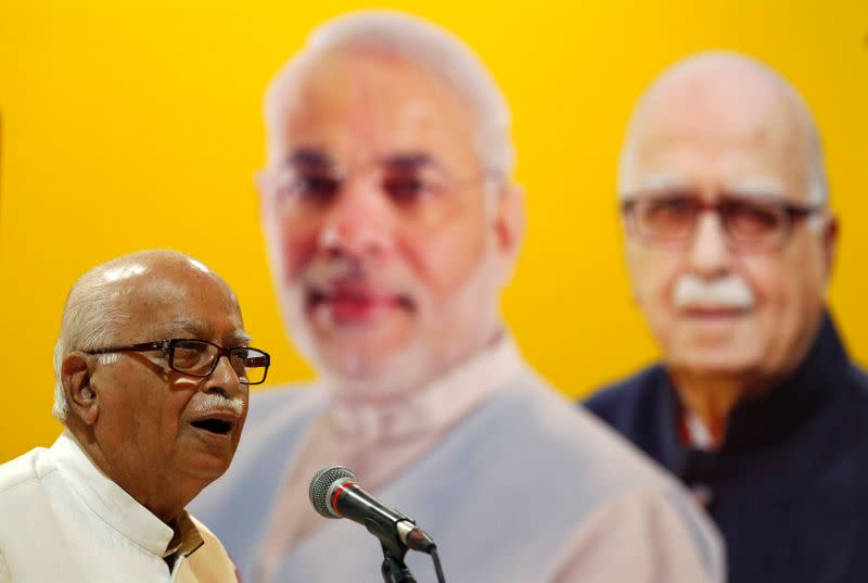 A leader of India's BJP Advani addresses his supporters during an election campaign in Ahmedabad