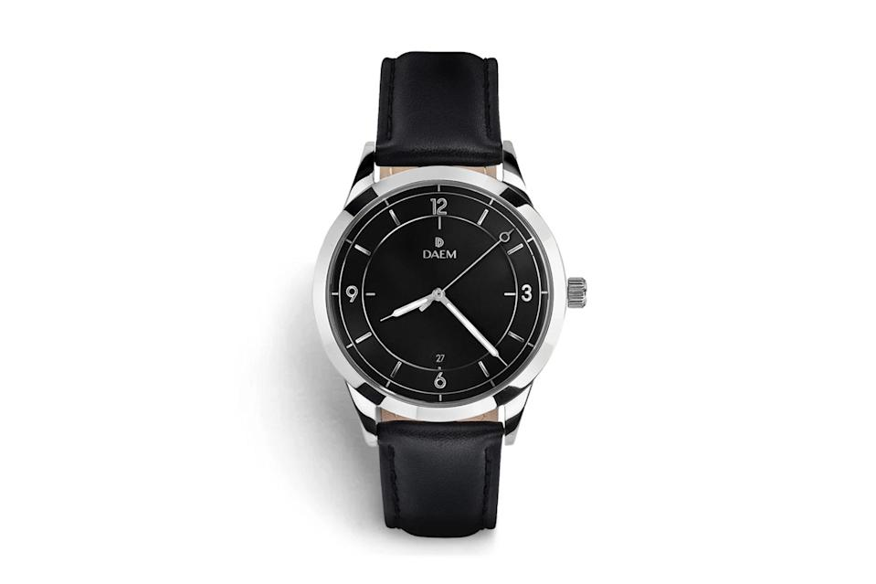 "$300, DAEM. <a href=""https://daemwatches.com/collections/classic/products/sterling-black"" rel=""nofollow noopener"" target=""_blank"" data-ylk=""slk:Get it now!"" class=""link rapid-noclick-resp"">Get it now!</a>"