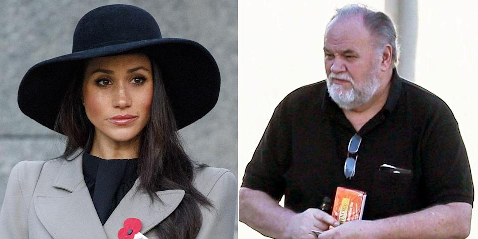 Meghan Markle's father won't be attending the royal wedding, following reports he suffered a heart attack days ago. Source: Marie Claire, Harpers Bazaar