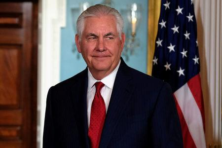 U.S. Secretary of State Rex Tillerson speaks with reporters after meeting with Libyan Prime Minister Fayez al-Sarraj in Washington
