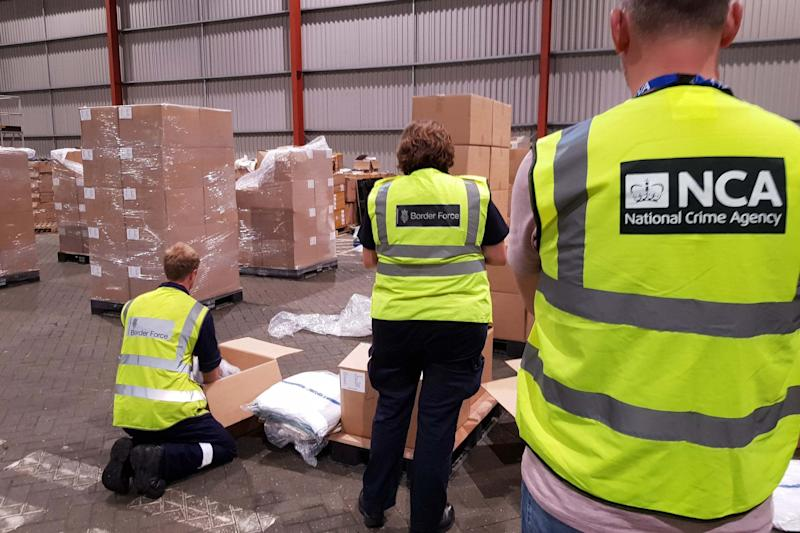 The National Crime Agency said the haul, weighing nearly 1.3 tonnes, is the largest ever seizure of the Class A drug in the UK (PA)