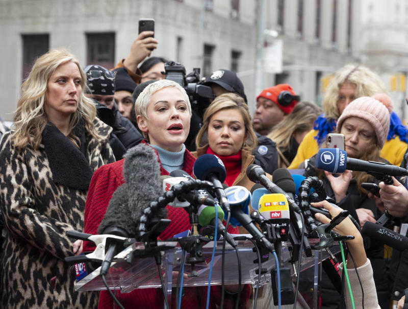Actress Rose McGowan speaks during press conference on 1st day of Harvey Weinstein trial accused of rape and sexual misconduct at State Criminal Court in New York, NY on January 6, 2020. (Photo by Lev Radin/Pacific Press/Sipa USA)