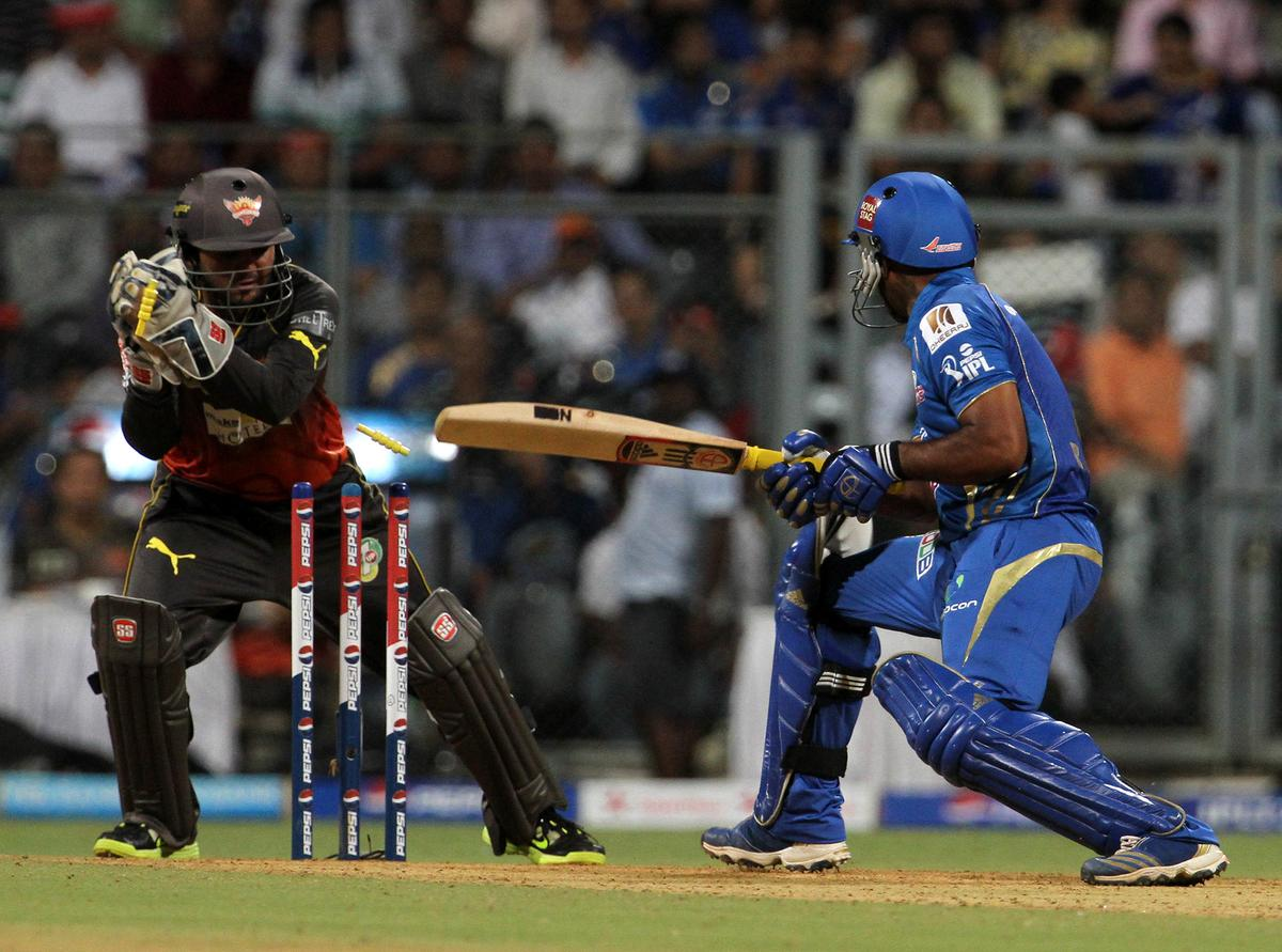 Mumbai Indian player Ambati Rayudu gets stump out during match 62 of the Pepsi Indian Premier League ( IPL) 2013  between The Mumbai Indians and the Sunrisers Hyderabad held at the Wankhede Stadium in Mumbai on the 13th May 2013 ..Photo by Vipin Pawar-IPL-SPORTZPICS  ..Use of this image is subject to the terms and conditions as outlined by the BCCI. These terms can be found by following this link:..https://ec.yimg.com/ec?url=http%3a%2f%2fwww.sportzpics.co.za%2fimage%2fI0000SoRagM2cIEc&t=1490837499&sig=NX.MrJ0GLnwI5ZhaG5RkSA--~C