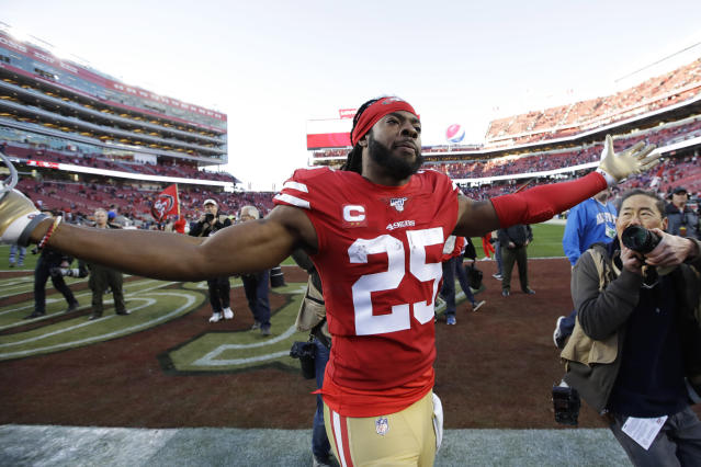 San Francisco 49ers cornerback Richard Sherman (25) celebrates after the 49ers beat the Minnesota Vikings 27-10 in an NFL divisional playoff football game, Saturday, Jan. 11, 2020, in Santa Clara, Calif. (AP Photo/Marcio Jose Sanchez)