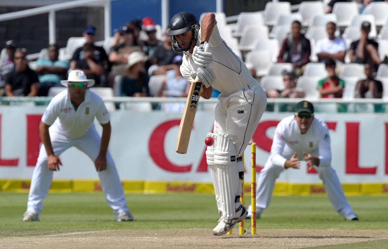 New Zealand batsman Dean Brownile, plays a shot during the second innings on day two of the first Test match between South Africa and New Zealand, in Cape Town at Newlands on January 3, 2013. South African all out 347 runs.AFP PHOTO / ALEXANDER JOE