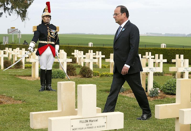 """French President François Hollande commemorated the World War I battle of Chemin des Dames in northern France and credited Europe with """"having protected us against war"""""""