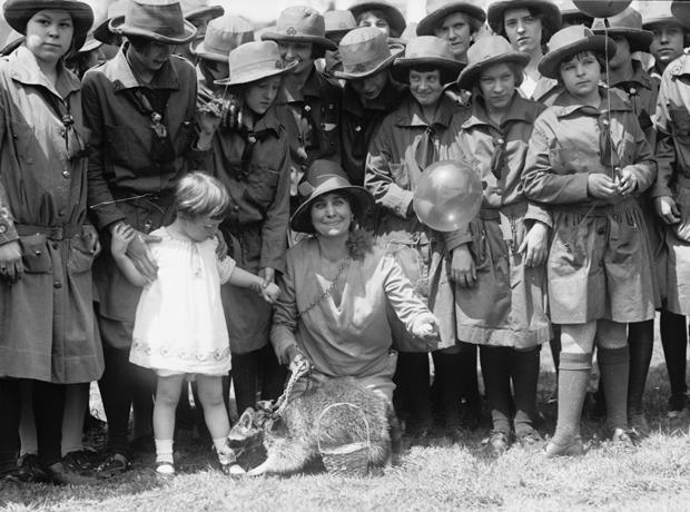 First lady Grace Coolidge with Rebecca the Raccoon at the White House Easter Egg Roll in 1927. / Credit: Library of Congress