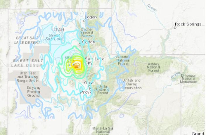 A magnitude 5.7 earthquake hit near Salt Lake City, Utah, on March 18, 2020.