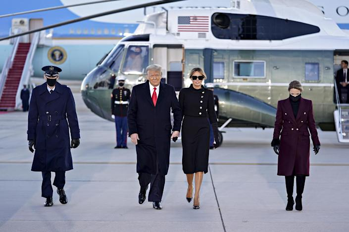 <p>The Trumps arrive to a farewell ceremony at Joint Base Andrews in Maryland.</p>