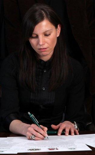 Saturday marks the third anniversary of Germany goalkeeper Robert Enke's suicide after battling depression for years and his widow has launched a hotline for athletes suffering from similar problems. Set up in his memory, The Robert Enke Foundation, with his widow Teresa (pictured in 2010) as chairman, now supports projects to educate the public about depression and heart disease in children