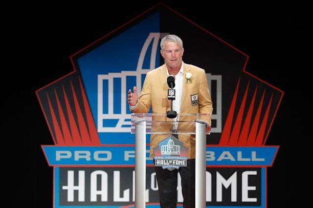 Brett Favre, pictured during his induction to the NFL Hall of Fame in 2016, said he went to rehap twice to address problems with alcohol (AFP Photo/Joe Robbins)