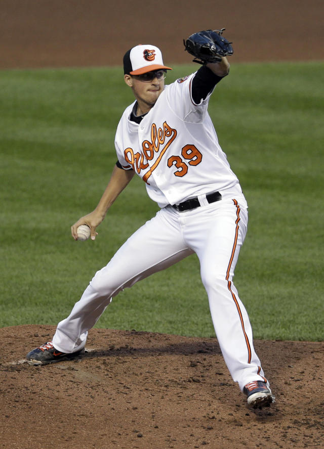 Baltimore Orioles starting pitcher Kevin Gausman throws to the Los Angeles Angels in the fourth inning of a baseball game, Wednesday, July 30, 2014, in Baltimore. (AP Photo/Patrick Semansky)