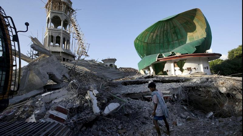 A mosque damaged by the earthquake in North Lombok, Indonesia that has killed at least 98 people