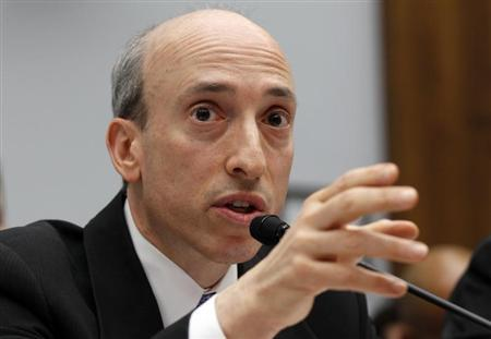"""Gary Gensler, chairman of the U.S. Commodity Futures Trading Commission, testifies before a House Financial Services Committee hearing on """"Examining Bank Supervision and Risk Management in Light of JPMorgan Chase's Trading Loss"""" in Washington"""