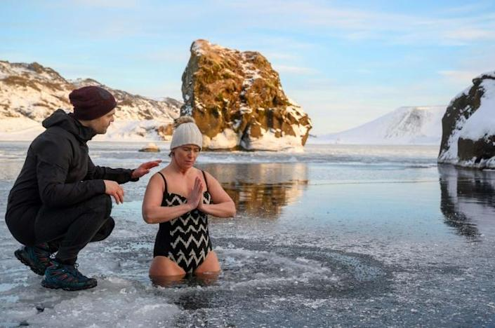 """Andri Einarsson says anyone can immerse themselves in an ice bath and be """"tough"""", but it takes practice to actually enjoy the experience (AFP Photo/Halldor KOLBEINS)"""