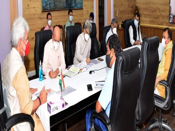 Jammu and Kashmir Lieutenant Governor Manoj Sinha in the COVID-19 review meeting. (Photo/ANI)