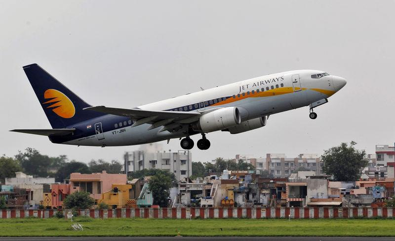 FILE PHOTO: A Jet Airways passenger aircraft takes-off from the airport in Ahmedabad