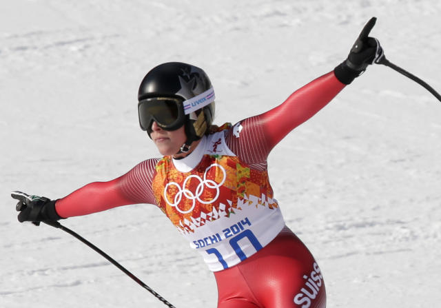 Switzerland's Lara Gut finishes in the downhill portion of the women's supercombined at the Sochi 2014 Winter Olympics, Monday, Feb. 10, 2014, in Krasnaya Polyana, Russia. (AP Photo/Gero Breloer)