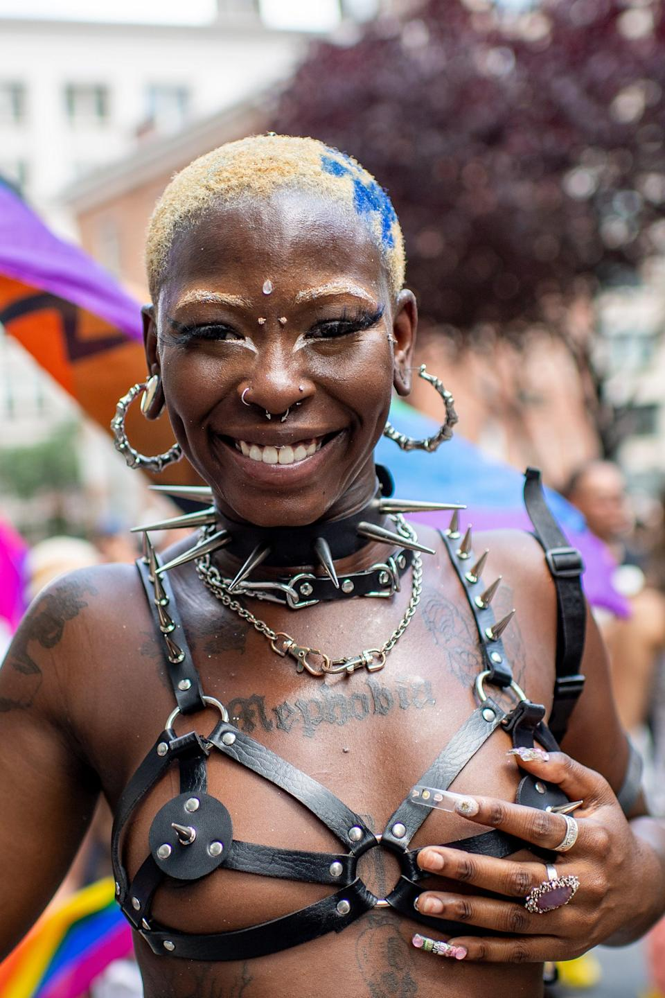 """This parade-goer in New York City took the chance to dress like a rebel <em>with</em> a cause. <span class=""""copyright"""">Photo: Roy Rochlin/Getty Images.</span>"""