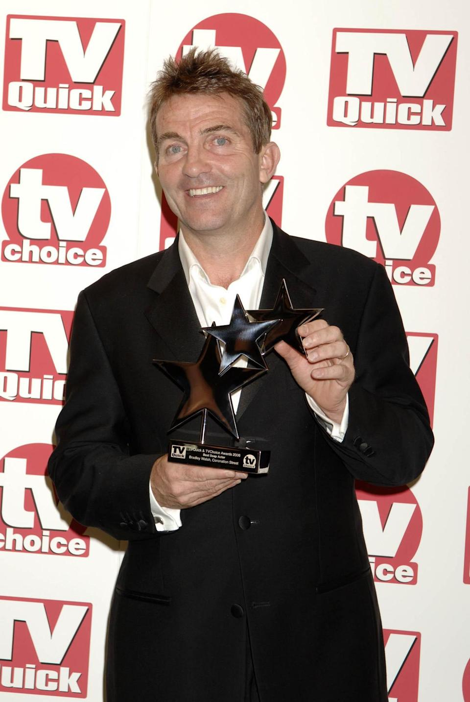 Bradley Walsh wins Best Soap Actor award, at the TV Quick and TV Choice Awards at the Dorchester Hotel, central London. (Photo by Yui Mok - PA Images/PA Images via Getty Images)