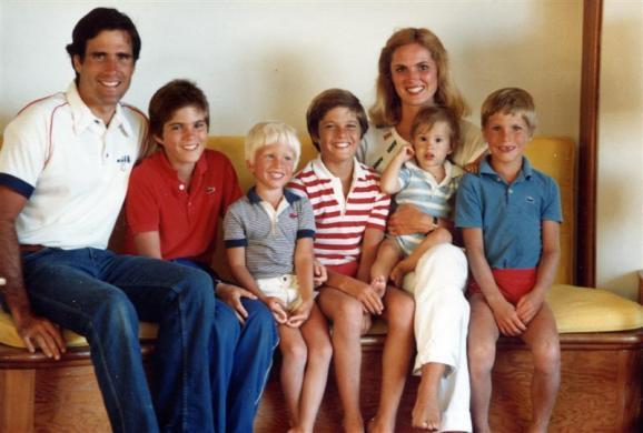 Mitt Romney and his wife Ann with their sons (L-R) Tagg, Ben, Matt, Craig, Josh are seen in this undated handout photo.
