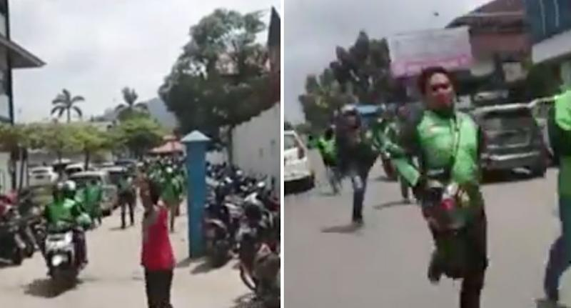 Taxi motorbike drivers in Indonesia storming hospital to collect body of child being held.