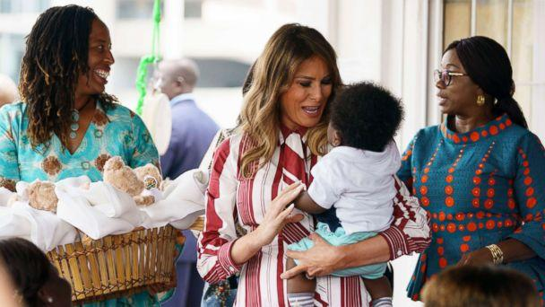 PHOTO: First lady Melania Trump holds a baby as she visits Greater Accra Regional Hospital in Accra, Ghana, Oct. 2, 2018. (Carolyn Kaster/AP)