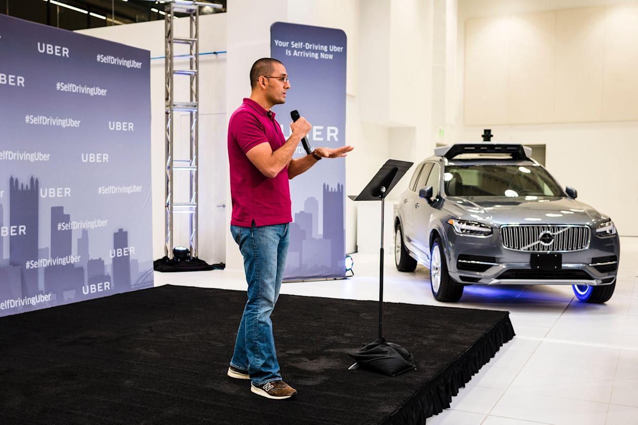 Raffi Krikorian, then-director of Uber's Advanced Technologies Center, at the launch of the pilot model of the Uber self-driving car in 2016. (Photo: Angelo Merendino /AFP/Getty Images)