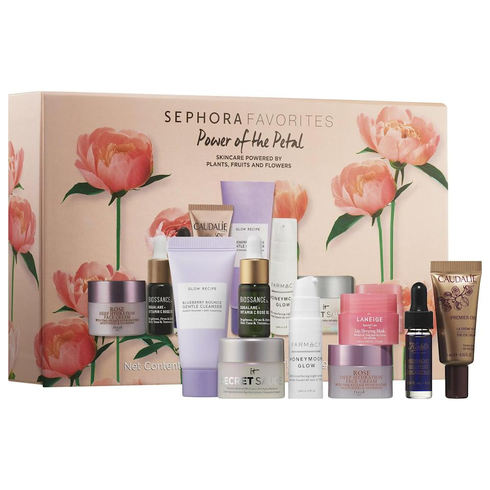 "<p>There's real flower power in this <a href=""https://www.popsugar.com/buy/Sephora-Favorites-Power-Petal-568872?p_name=Sephora%20Favorites%20Power%20of%20the%20Petal&retailer=sephora.com&pid=568872&price=36&evar1=bella%3Aus&evar9=47425767&evar98=https%3A%2F%2Fwww.popsugar.com%2Fbeauty%2Fphoto-gallery%2F47425767%2Fimage%2F47425779%2FSephora-Favorites-Power-Petal&prop13=mobile&pdata=1"" class=""link rapid-noclick-resp"" rel=""nofollow noopener"" target=""_blank"" data-ylk=""slk:Sephora Favorites Power of the Petal"">Sephora Favorites Power of the Petal</a> ($36). It features a collection of plant-, fruit-, and flower-based skincare from Farmacy, Glow Recipe, It Cosmetics, and Laneige.</p>"