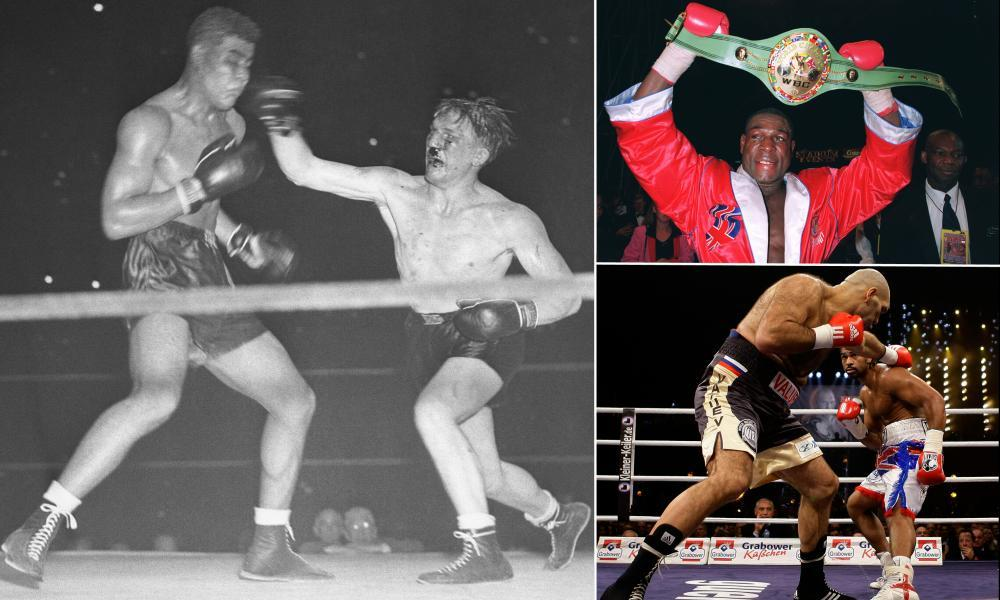 Tommy Farr fights Joe Louis in 1937, Frank Bruno with his WBC title belt in 1995 and David Haye evades a punch from Nikolai Valuev in