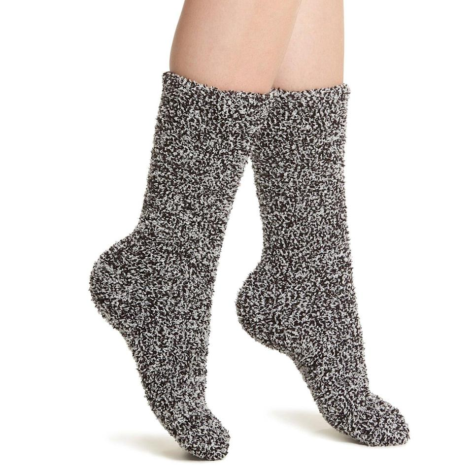 """<p>Keep your feet toasty and ready to slide all over your hardwood floors in the style of Tom Cruise in <em>Risky Business</em> with these plush knit socks. They're ideal for wearing around the house with shorts, leggings, or maybe even an oversized dress shirt.</p> <p><strong>To buy</strong>: $11 (was $15); <a href=""""https://click.linksynergy.com/deeplink?id=93xLBvPhAeE&mid=1237&murl=http%3A%2F%2Fshop.nordstrom.com%2Fs%2Fbarefoot-dreams-cozychic-socks%2F4533308%2Ffull&u1=RS%2CNordstromQuietlyMarkedDownPricesonSoManyComfyEssentials%2Cjmastrop%2CCLO%2CIMA%2C697481%2C202003%2CI"""" rel=""""nofollow noopener"""" target=""""_blank"""" data-ylk=""""slk:nordstrom.com"""" class=""""link rapid-noclick-resp"""">nordstrom.com</a>.</p>"""