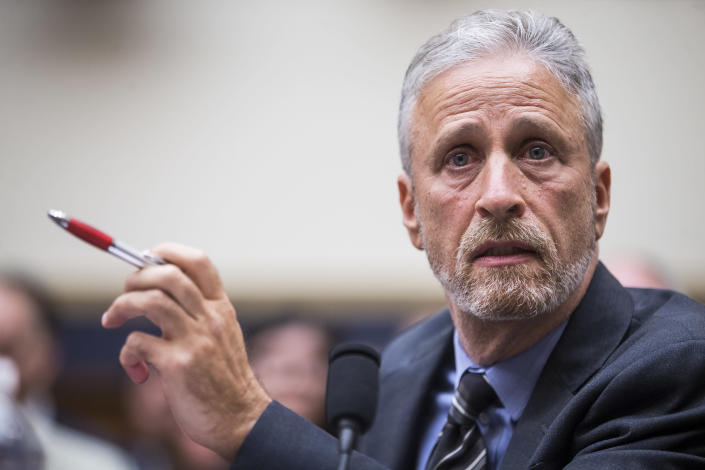 Jon Stewart testifies during a House Judiciary Committee hearing on Tuesday. (Photo: Zach Gibson/Getty Images)