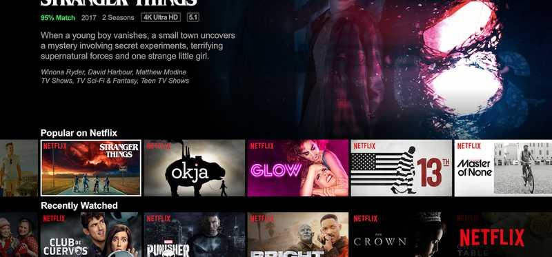 The Netflix home screen on a device.