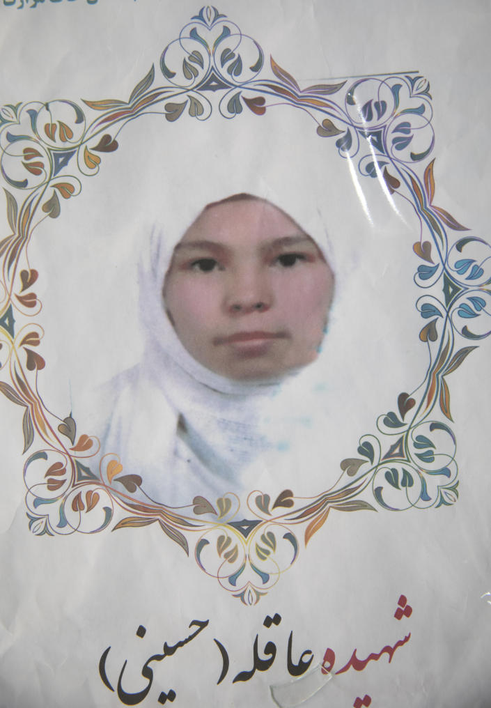 This undated photo released by the family shows Aqila Hussaini who was among nearly 100 people killed in bombing attacks outside her school on May 8, 2021. Mohammad Amin, said his 16 year old daughter, Aquila Amin, loved him better than anyone. She would read him poetry and dreamed one day of being a doctor. (AP Photo)