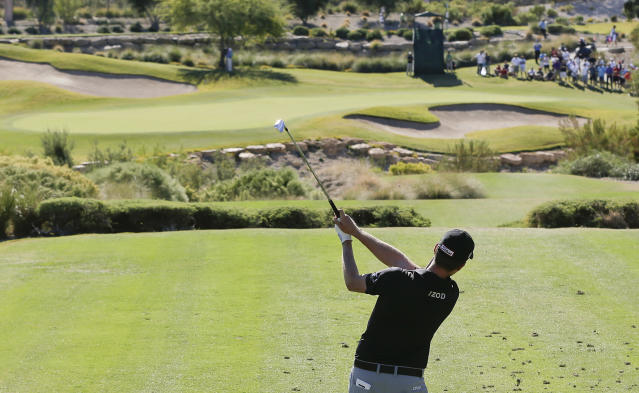 Webb Simpson tees off the fifth hole during the final round of the STPC Summerlin, Sunday, Oct. 20, 2013, in Las Vegas. Simpson won the tournament finishing 24-under 260. (AP Photo/Julie Jacobson)