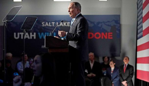 PHOTO: Democratic presidential candidate, former New York City mayor Mike Bloomberg talks to supporters at a rally on Feb. 20, 2020, in Salt Lake City. (George Frey/Getty Images)