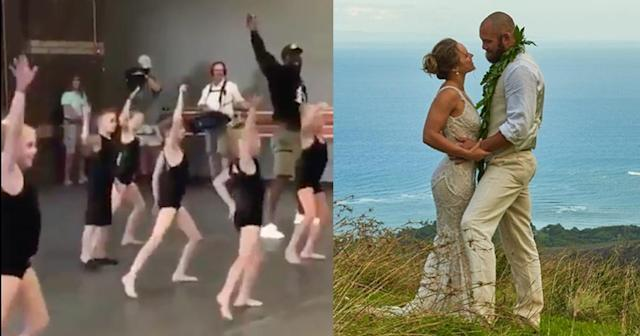"<a class=""link rapid-noclick-resp"" href=""/nfl/players/24789/"" data-ylk=""slk:Von Miller"">Von Miller</a> crashes a ballet class, while Ronda Rousey gets married. (Screenshots via Instagram)"