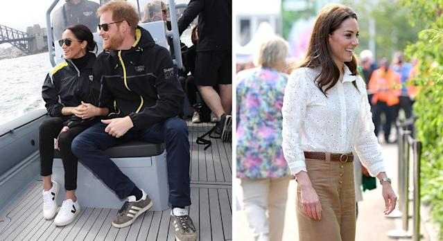 Meghan Markle and the Duchess of Cambridge are among celebrities who have made a case for white trainers. (Getty Images)