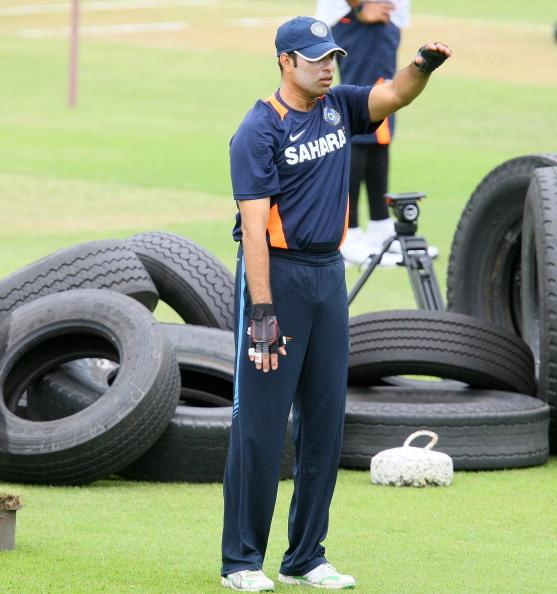 DURBAN, SOUTH AFRICA - DECEMBER 25:  VVS Laxman during the India training session at Sahara Stadium, Kingsmead on December 25, 2010 in Durban, South Africa. (Photo by Anesh Debiky/Gallo Images)