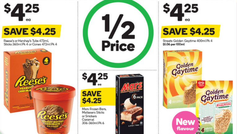 Ice creams selling for 50% off at Woolworths.