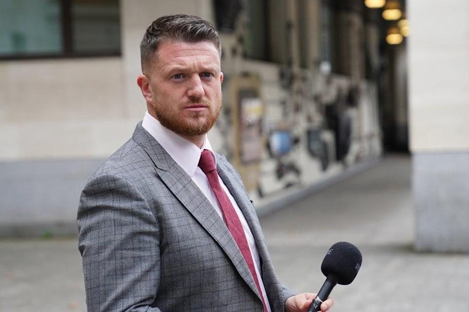 Tommy Robinson outside Westminster Magistrates' Court, where he is accused of stalking Independent home affairs correspondent Lizzie Dearden, who has applied for a stalking protection order against him (Stefan Rousseau/PA) (PA Wire)