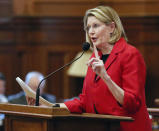 FILE - In this Feb. 26, 2019 file photo, Georgia House Speaker Pro Tem Jan Jones, a Milton Republican, speaks in favor of a bill to buy a $150 million election system. Jones is one of five House Republicans who on Friday, July 30, 2021 sent a letter to the State Election Board demanding a performance review that could lead to a state takeover of Fulton County elections (Bob Andres/Atlanta Journal-Constitution via AP, File)