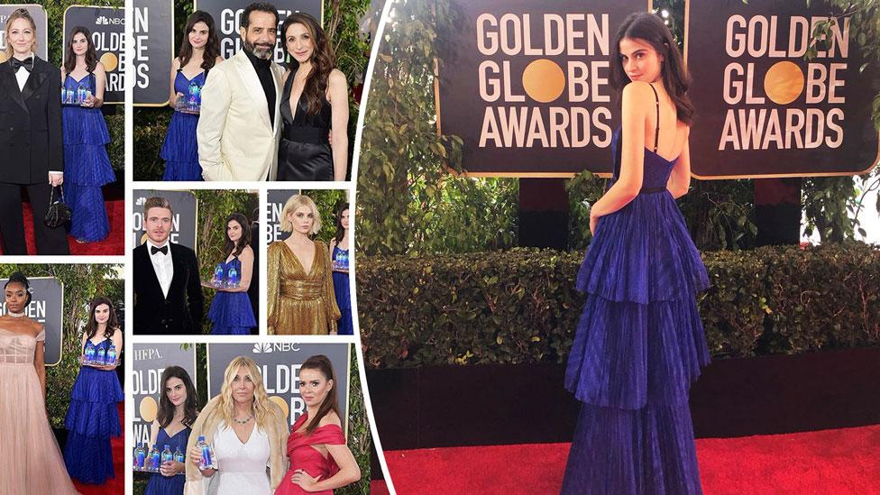 """<p>She started the night working as one of four women representing FIJI Water's brand as she handed out bottles of water to celebrities. Yet by the end of the night, she became a <a rel=""""nofollow"""" href=""""https://au.lifestyle.yahoo.com/people-cant-get-fiji-water-woman-golden-globes-052946206.html"""">viral sensation</a> for photobombing so many red carpet photos. Source: Getty