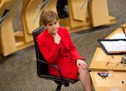 Scottish First Minister Sturgeon attends a session at the Parliament in Edinburgh