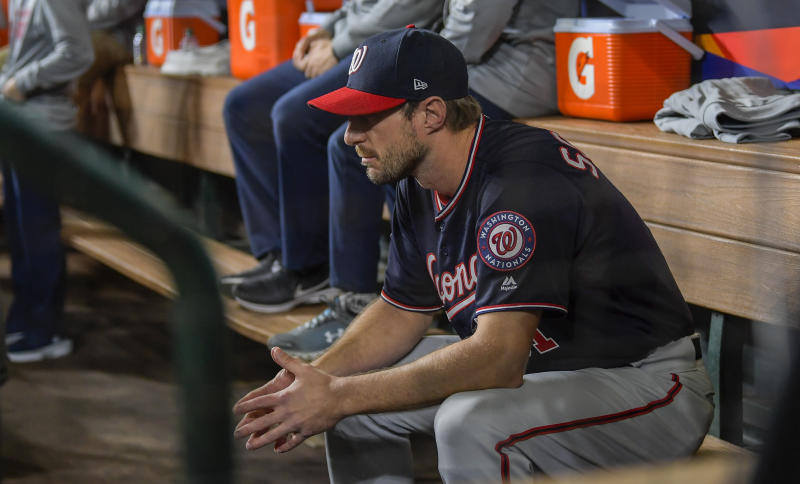 WASHINGTON, DC - OCTOBER 22: Washington Nationals starting pitcher Max Scherzer (31) in the Washington Nationals dugout before Game 1 of the World Series between the Washington Nationals and the Houston Astros at Minute Maid Park on Tuesday, October 22, 2019. (Photo by John McDonnell/The Washington Post via Getty Images)