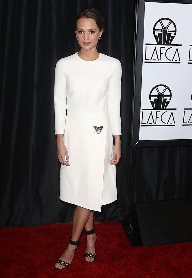 <p>Vikander was spotted on the red carpet before winning Best Supporting Actress for her role in <i>Ex Machina</i> at the 40th Annual Los Angeles Film Critics Association Awards on Jan. 9 in Century City, California. </p><p><i>(Photo: JC Olivera/FilmMagic)</i></p>