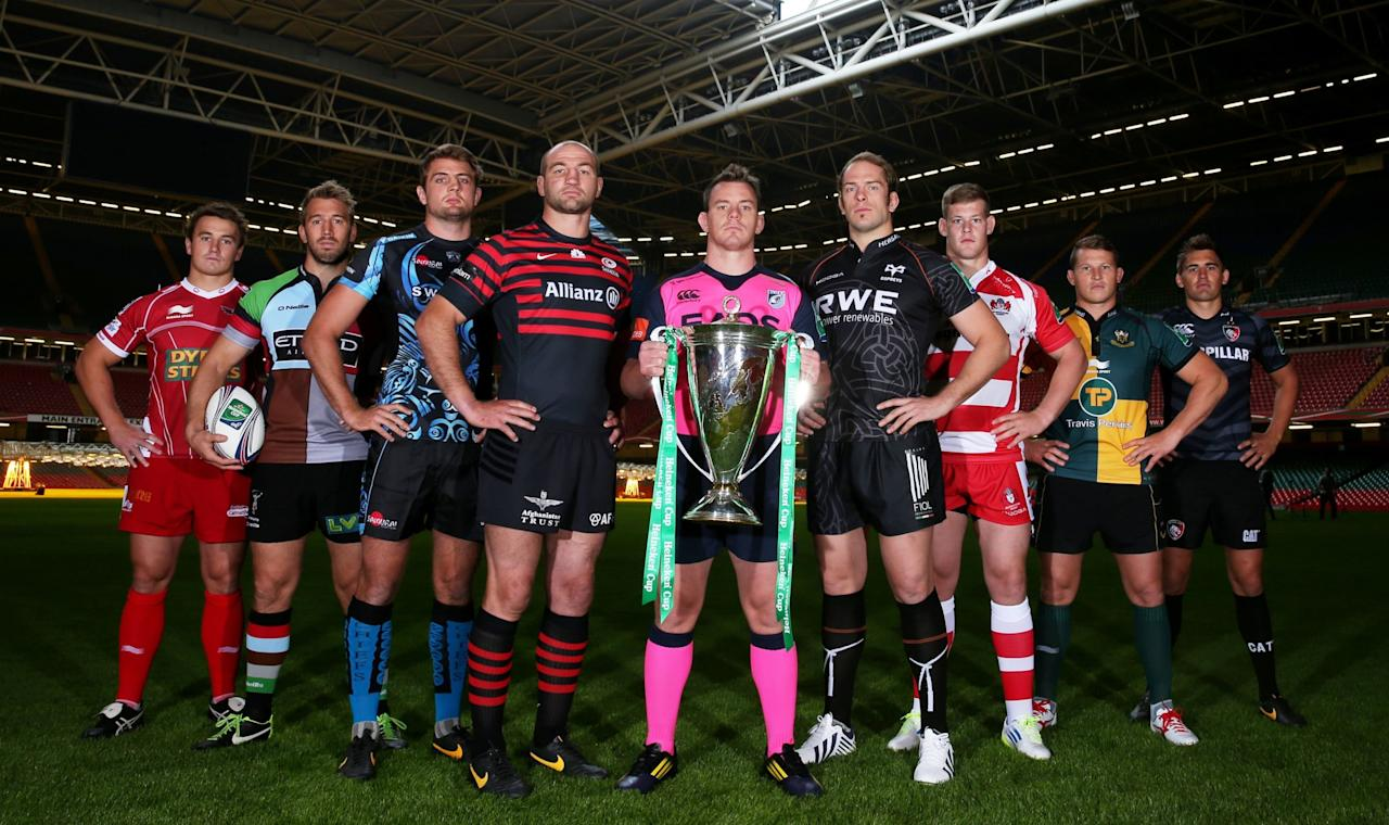Cardiff Blues captain Matthew Rees with the Heineken Cup (front left) and Newport Gwent Dragons captain Andrew Coombs (front right) holding the Amlin Challenge Cup with fellow captains (left to right) Leicester Tigers Toby Flood, Scarlets Jonathan Davies, Harlequins Chris Robshaw, Exeter Chiefs Dean Mumm, Saracens' Steve Borthwick, Cardiff Blues Matthew Rees , Newport Gwent Dragons' Andrew Coombs, Ospreys' Alun Wyn Jones, Gloucester's Tom Savage, Northampton Saints Dylan Hartley and Bath's Stuart Hooper during the English and Welsh Heineken Cup Launch at the Millennium Stadium, Cardiff.