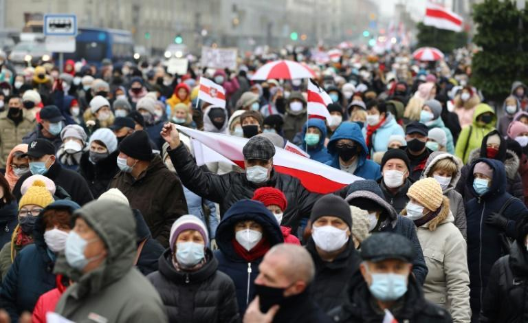 Belarusian pensioners stage a protest on November 16, 2020 in Minsk against President Alexander Lukashenko, in power since who has been 1994