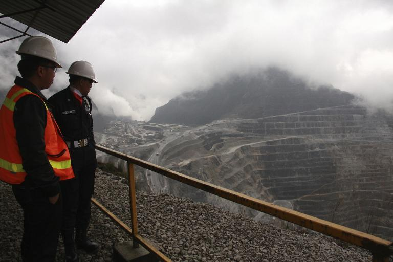 File picture shows security staff at the  Freeport McMoRan Grasberg mining complex, one of the world's biggest gold and copper mines, located in Indonesia's remote eastern Papua province