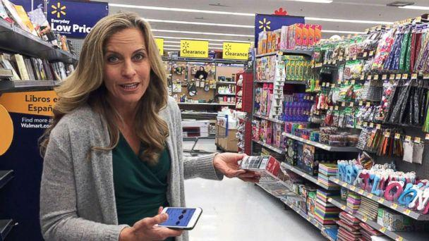 PHOTO: During her own experiment which aired on 'Good Morning America,' tech contributor Becky Worley headed to the clearance rack and fired up the Amazon app. She then used the built-in barcode scanner to check prices on the items. (ABC)